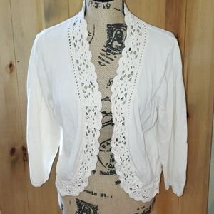 Coldwater Creek Lace Accent Cardigan
